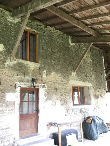 The west face of the house, under the covered terrace, to be renovated by the macon